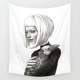 Black Raven in a White Raven's Mask Wall Tapestry