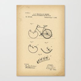 1896 Patent Bicycle attachment for use on ice Canvas Print