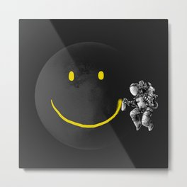 make a Smile graffiti astronaut  Metal Print
