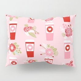 Coffee valentines day florals cute coffee lovers gifts that say i love you Pillow Sham