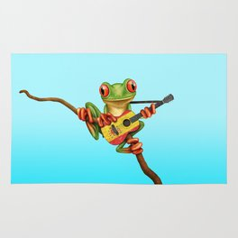 Tree Frog Playing Acoustic Guitar with Flag of Spain Rug