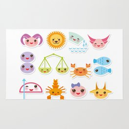 Funny Kawaii zodiac sign, astrological stiker virgo, aries, gemini, cancer, aquarius, taurus,  leo Rug