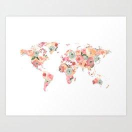Floral Watercolor World Map - Pink, Coral, Aqua Flowers Art Print
