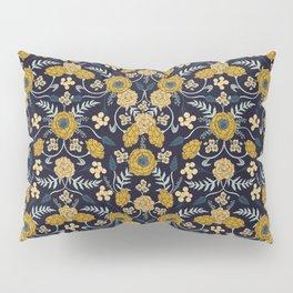 Navy Blue, Turquoise, Cream & Mustard Yellow Dark Floral Pattern Pillow Sham