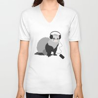 ferret V-neck T-shirts featuring Music Loving Ferret by Boriana Giormova
