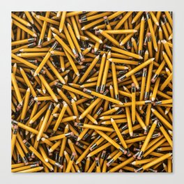 Pencil it in / 3D render of hundreds of yellow pencils Canvas Print