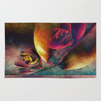 planets Area & Throw Rugs featuring Flower Planets by Klara Acel