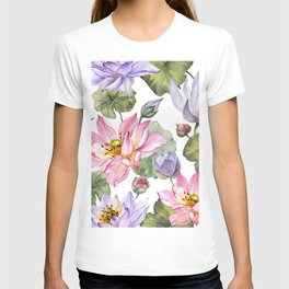 Large pink and purple lotus flowers with leaves on white background T-shirt