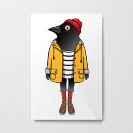 Hipster crow Metal Print