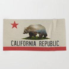 California Grizzly Bear Flag Beach Towel