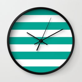 Persian green - solid color - white stripes pattern Wall Clock