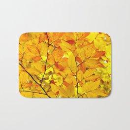 Indian Summer - Yellow Autumn Fall Leaves Bath Mat