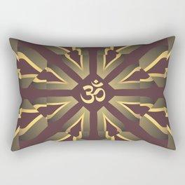 Om Fractal Purple & Yellow, Aum Kaleidoscope Rectangular Pillow
