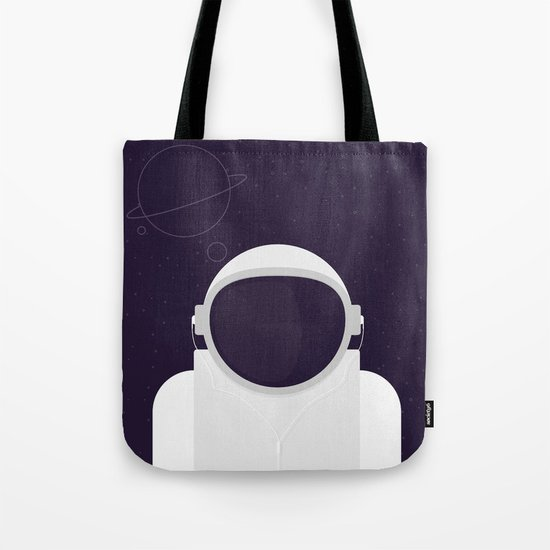Astronaut is listening music Tote Bag