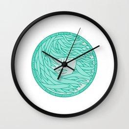 Polynesian Woman Sea Kelp Hair Circle Mono Line Wall Clock