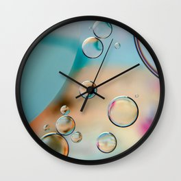 """""""Oil and Water - Teal & Pink"""" Wall Clock"""