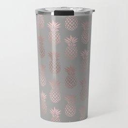 Girly rose gold & grey pineapple pattern Travel Mug