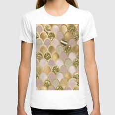 Rose gold glittering mermaid scales MEDIUM White Womens Fitted Tee