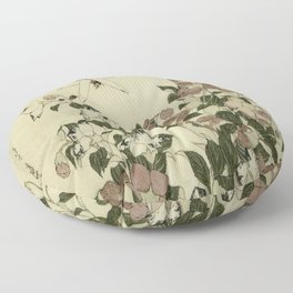 Hokusai – campanula and odonata -insect,flower, nature,garden Floor Pillow