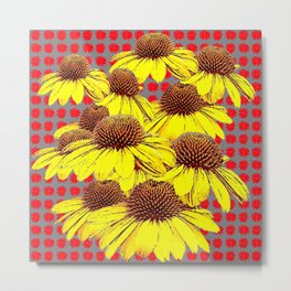 DECORATIVE YELLOW CONE FLOWERS ON RED PATTERN ART Metal Print