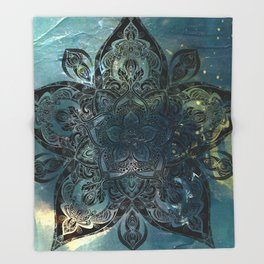Flower mandala -night Throw Blanket