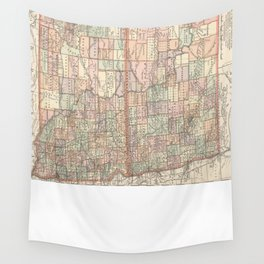 Vintage Map of North and South Dakota (1891) Wall Tapestry
