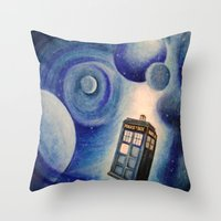 tardis Throw Pillows featuring TARDIS by Colunga-Art