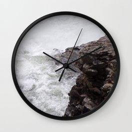 Rapids, Churning Water Through Black Rocks, Swift River Wate Wall Clock