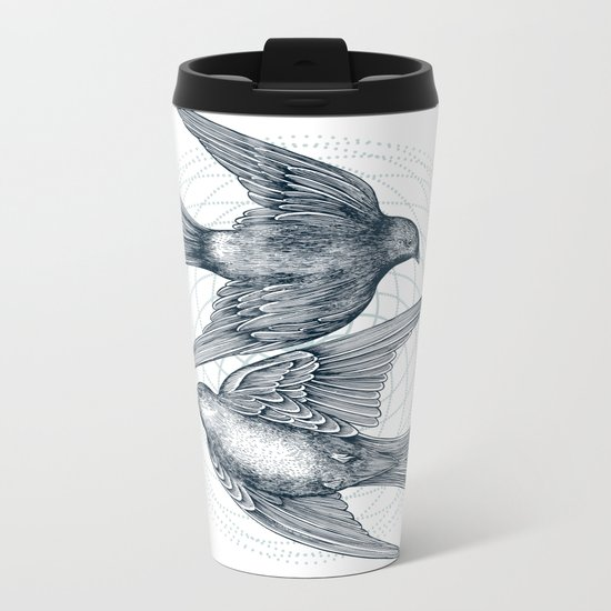 Two Swallows Metal Travel Mug