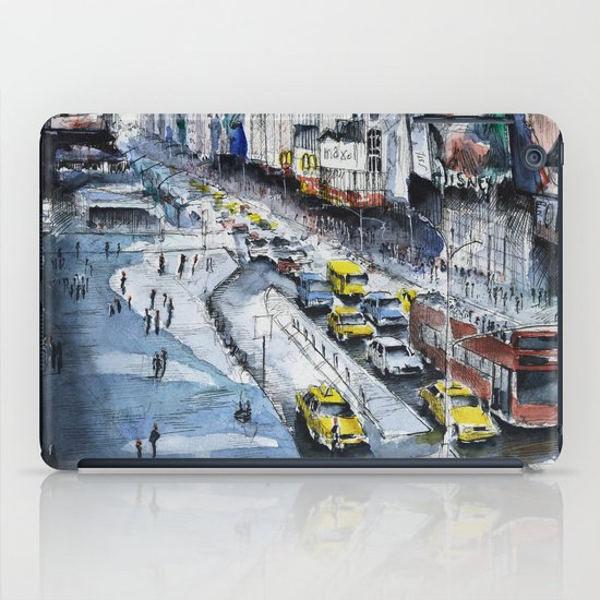 Time square - New York City - Illustration watercolor painting iPad Case