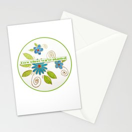 Golden Flowers - Grow where you're planted Stationery Cards