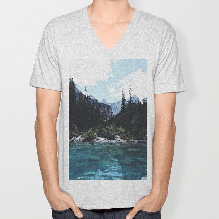 Glacier Creek, Moraine lake Banff Unisex V-Neck