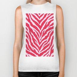 Red zebra fur texture Biker Tank