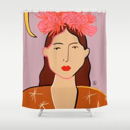 GIRL WITH FLOWER CROWN Shower Curtain