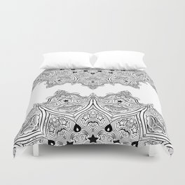 Stars and Stripes - Patriotic Mandala - Black and White - 'Merica! Duvet Cover