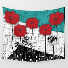 Applique. Poppies on turquoise black white background . Wall Tapestry