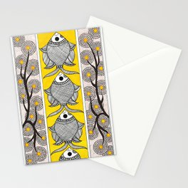 Madhubani Fish Flower  Stationery Cards