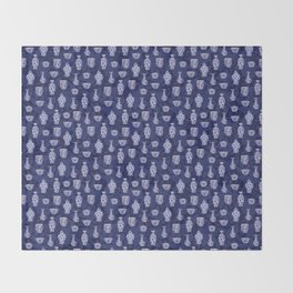 Blue & White Chinoiserie/ Delftware Pottery Pattern Throw Blanket