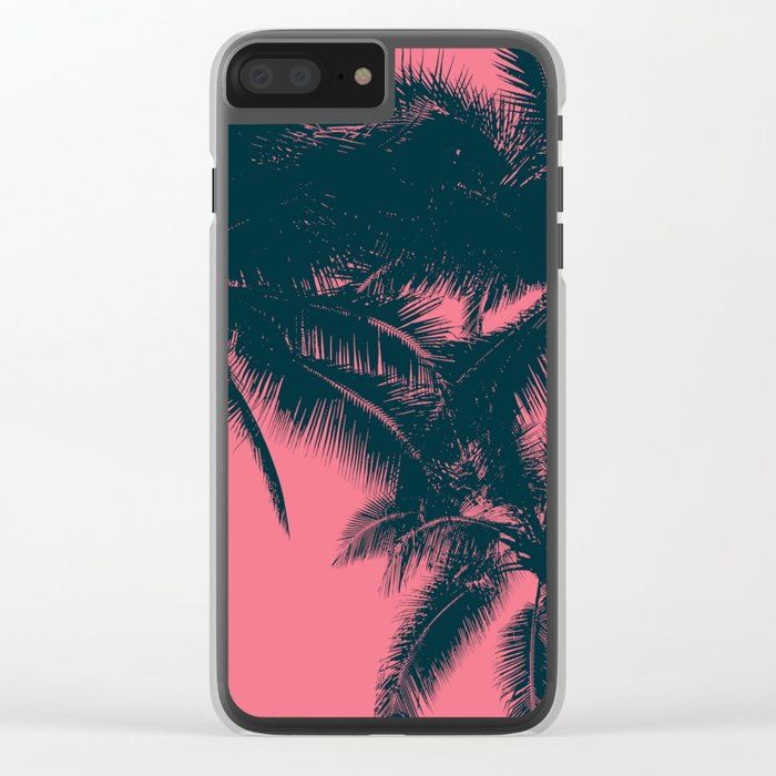 Pink palms in summer Clear iPhone Case