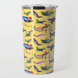 Whales on Holiday by dotsofpaint - Yellow Travel Mug