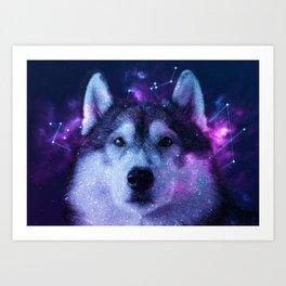 Galaxy Siberian Husky Art Print