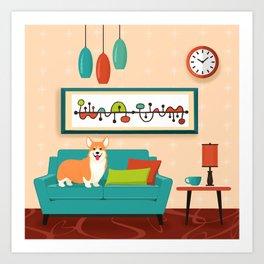 A Corgi Makes A House A Home Art Print
