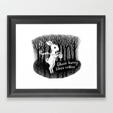 Ghost bunny likes coffee Framed Art Print