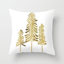 Pine Trees – Gold Palette Throw Pillow