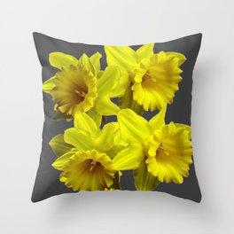 YELLOW SPRING DAFFODILS & CHARCOAL GREY COLOR Throw Pillow