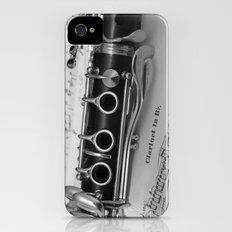 B Flat Clarinet in Black & White iPhone (4, 4s) Slim Case