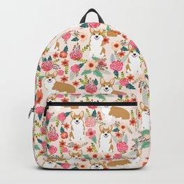 Corgi Florals - vintage corgi and florals gift great for corgi lovers Backpack