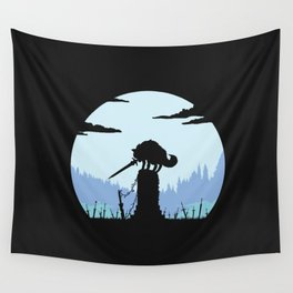 Grey Wolf Sif (Dark Souls) - in black Wall Tapestry
