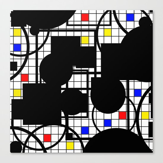 Colour Relationships - Black, white, red, yellow, blue, geometric abstract artwork Canvas Print