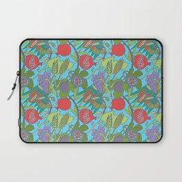 Seven Species Botanical Fruit and Grain with Aqua Background Laptop Sleeve